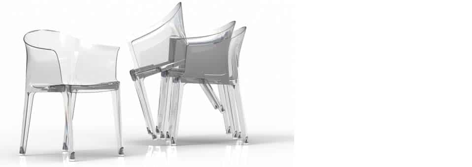 fauteuils transparents Tulipano