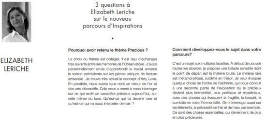 Elizabeth Leriche Forum d'Inspirations Maison&Objet Paris Septembre 2015