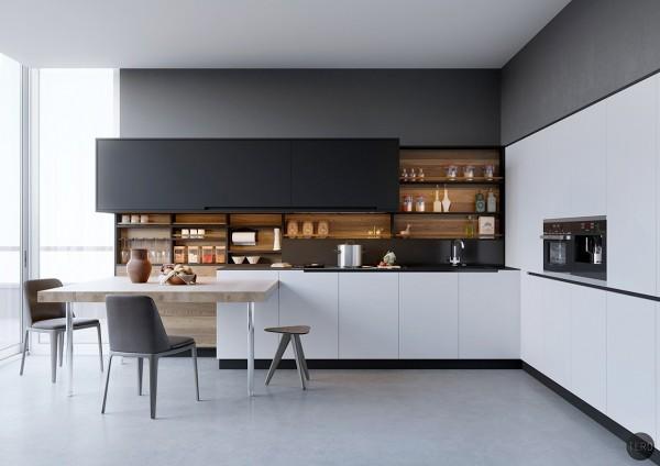 decoration cuisine m233langez le noir le blanc et le bois