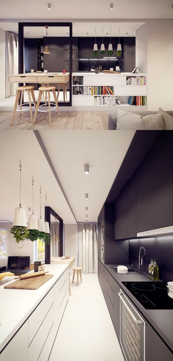 Deco cuisine noir blanc bois