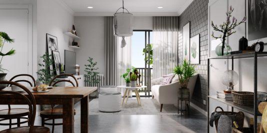 décoration grise et blanche relevée avec un maximum de verdure