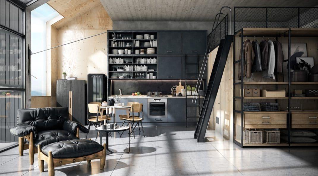 Des cuisines au style industriel spacieuses