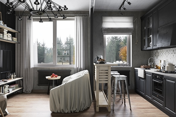 denis krasikov nous d voile un appartement industriel moderne. Black Bedroom Furniture Sets. Home Design Ideas