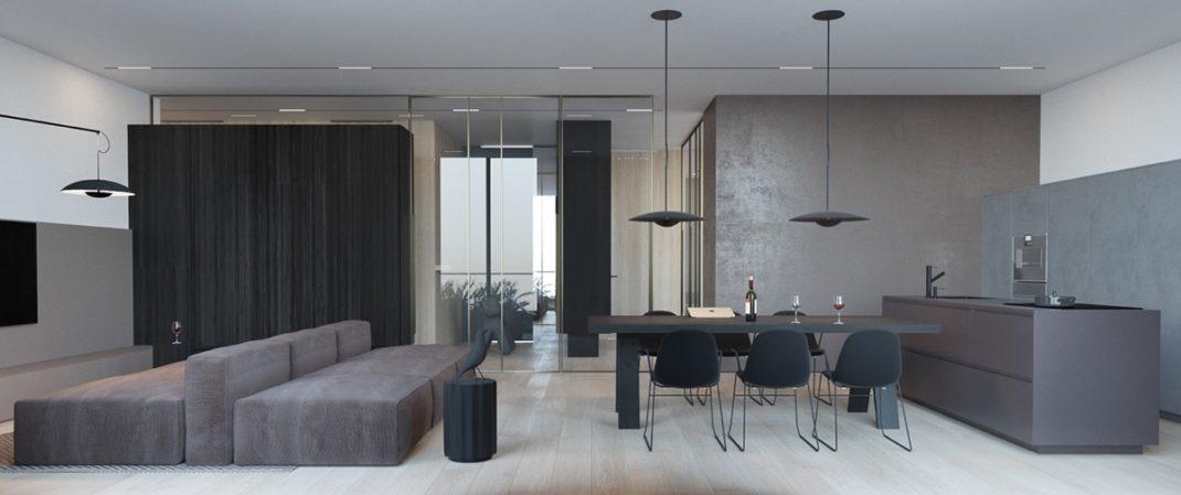 un appartement moderne et minimaliste pour une jeune famille. Black Bedroom Furniture Sets. Home Design Ideas