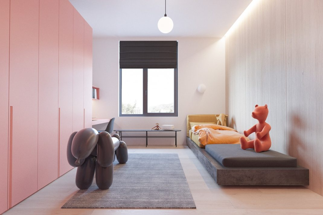 un appartement moderne et minimaliste pour une jeune famille. Black Bedroom Furniture Sets. Home Design Ideas