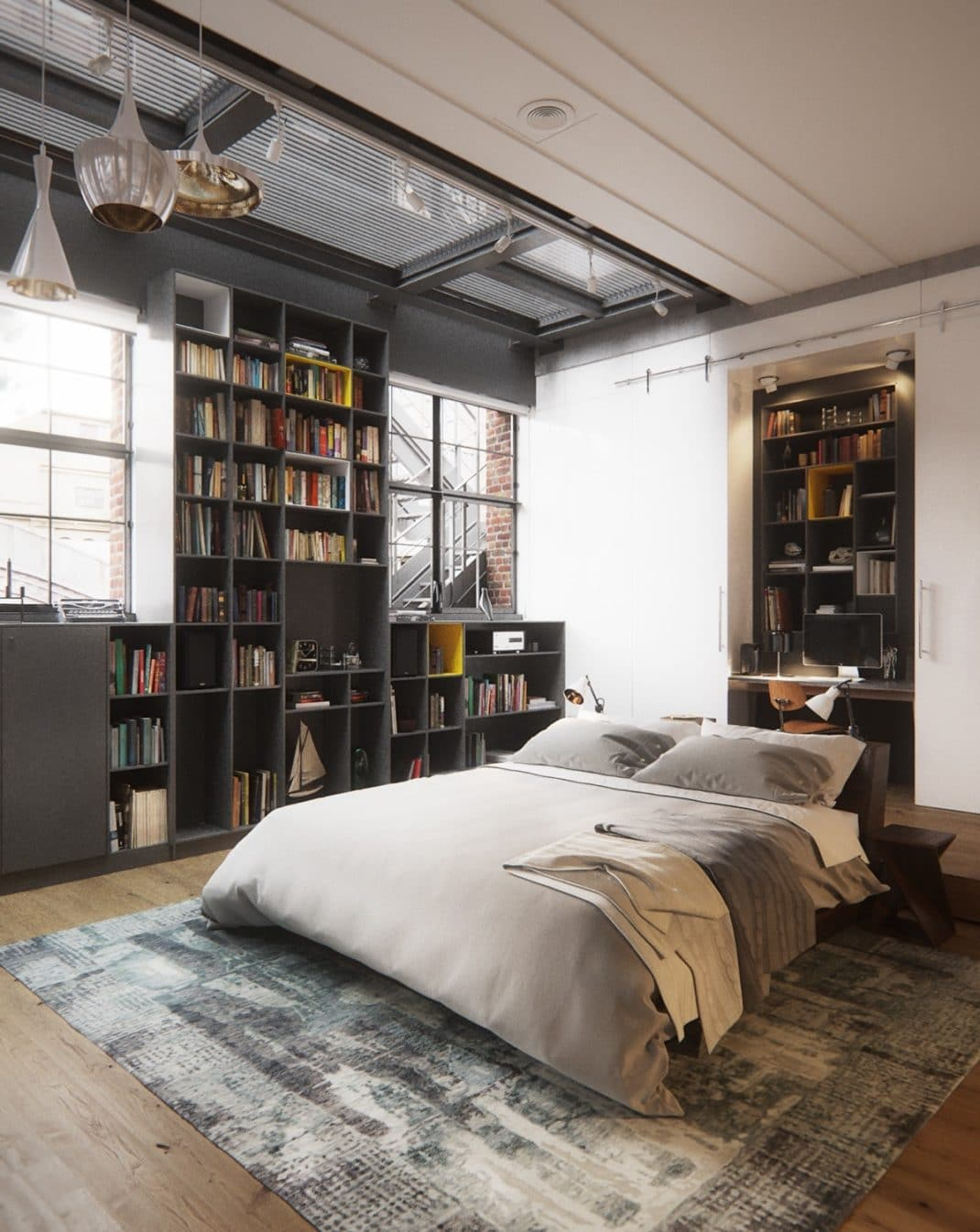 chambre la d coration industrielle mon guide ultime. Black Bedroom Furniture Sets. Home Design Ideas