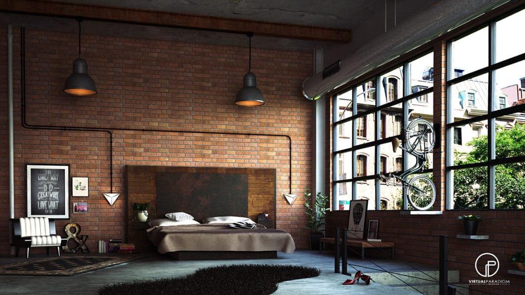 chambre à la décoration industrielle