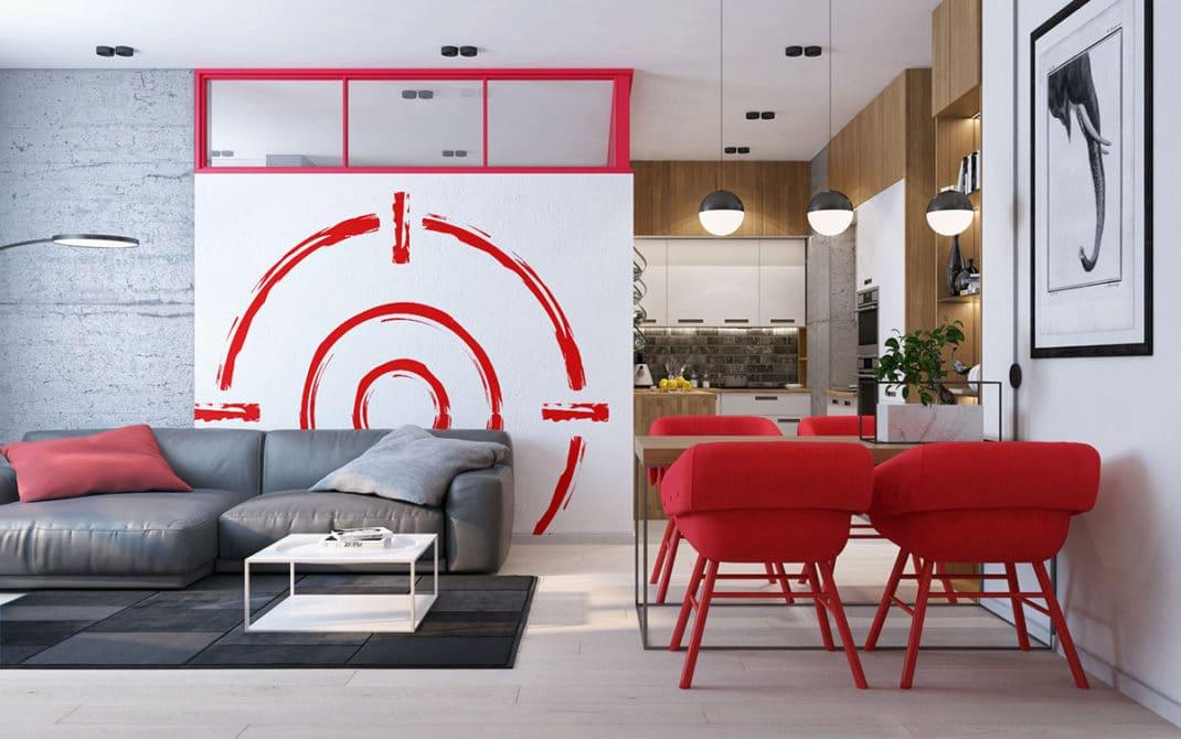 D co rouge comment utiliser le rouge pour sa d coration - Decorer un grand pan de mur ...