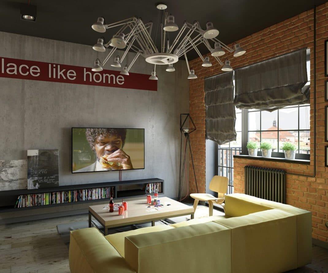 salon à la décoration industrielle