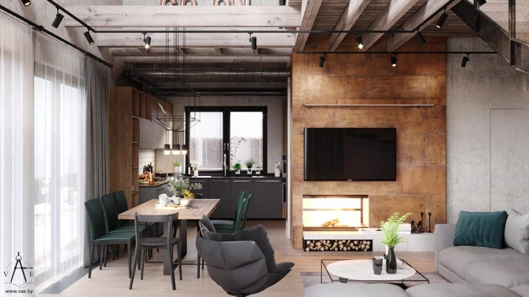 d coration industrielle chaleureuse pour ce magnifique loft. Black Bedroom Furniture Sets. Home Design Ideas