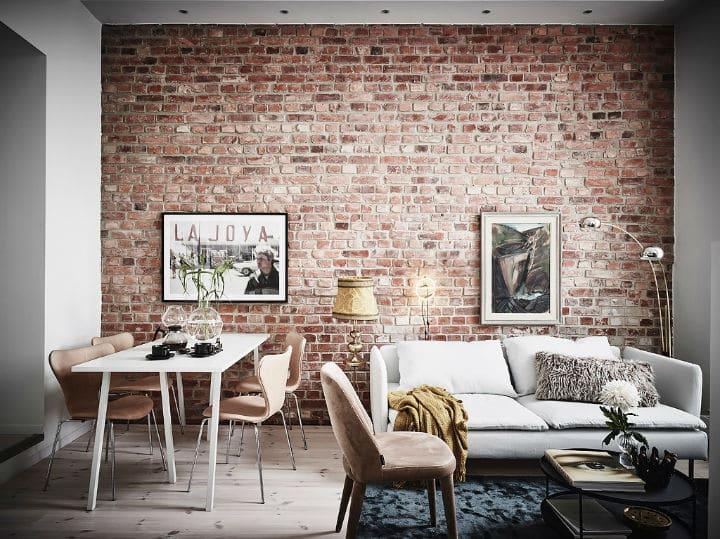 Murs de brique et de la peinture blanche l 39 accord for Ingresso casa classica