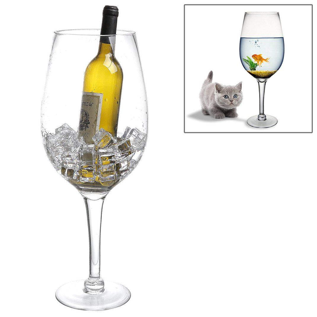 Seau à glace design leverre à vin transparent géant