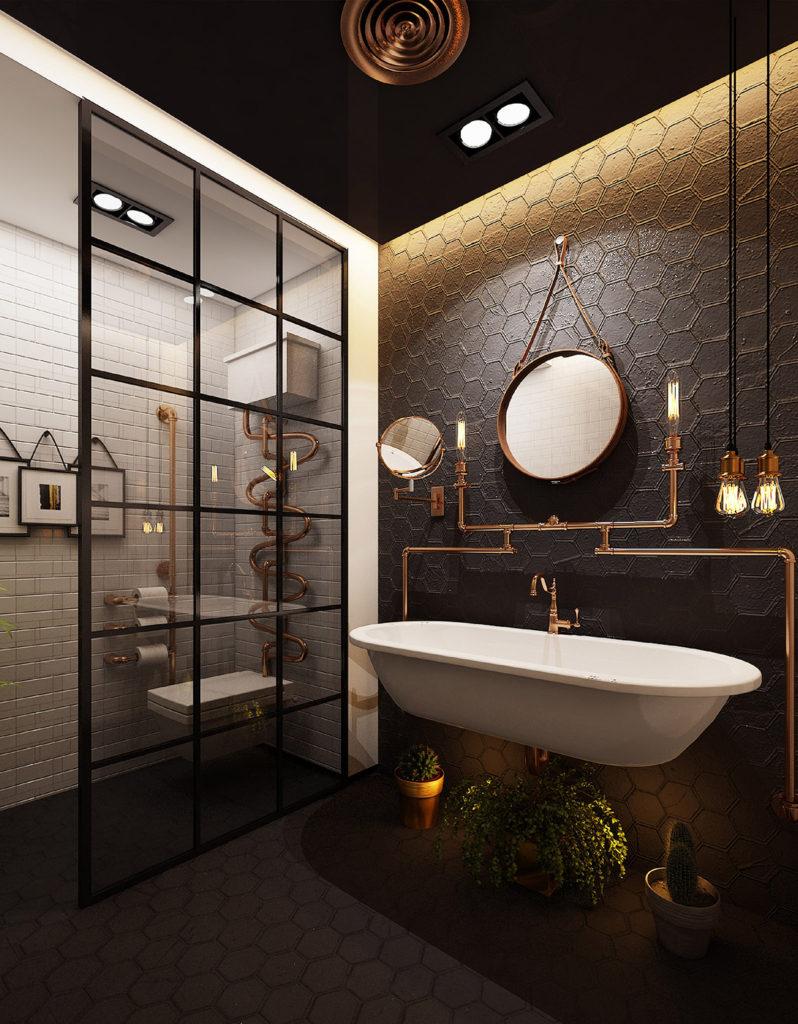51 salles de bains de style industriel pour trouver de l inspiration. Black Bedroom Furniture Sets. Home Design Ideas