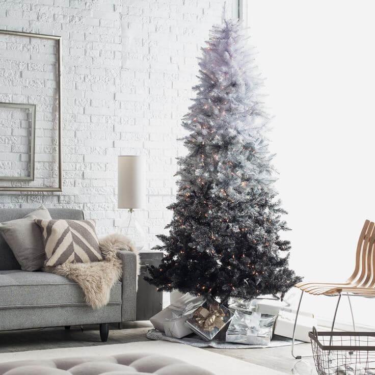 Décorations de sapins de Noël ombré noir