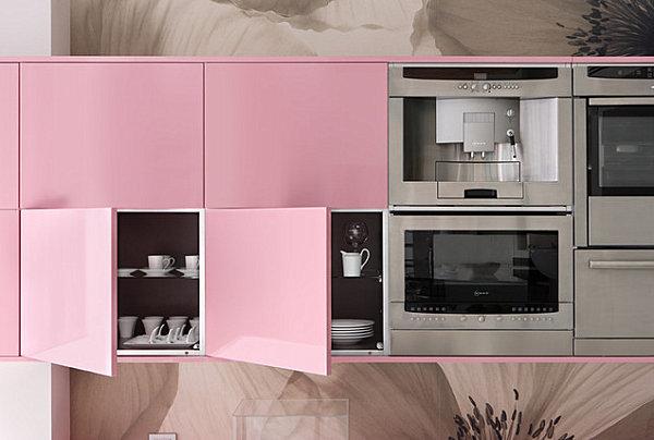 Décorer sa maison avec des meubles laqués cuisine rose