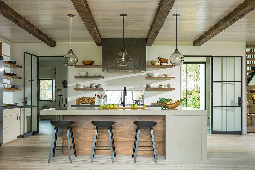 Un plafond en bois dans une cuisine moderne 1