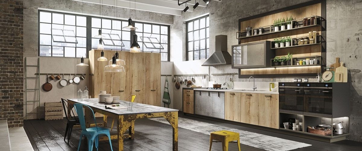 Des cuisines industrielles colorées