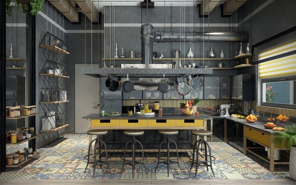 Les cuisines industriellesles étagères