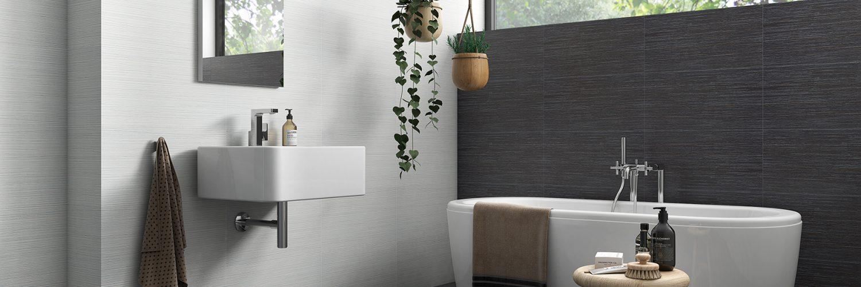 Salle de bain grise masculine