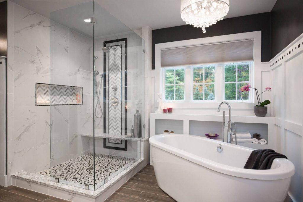 Une palette monochromatique pour votre banc de douche
