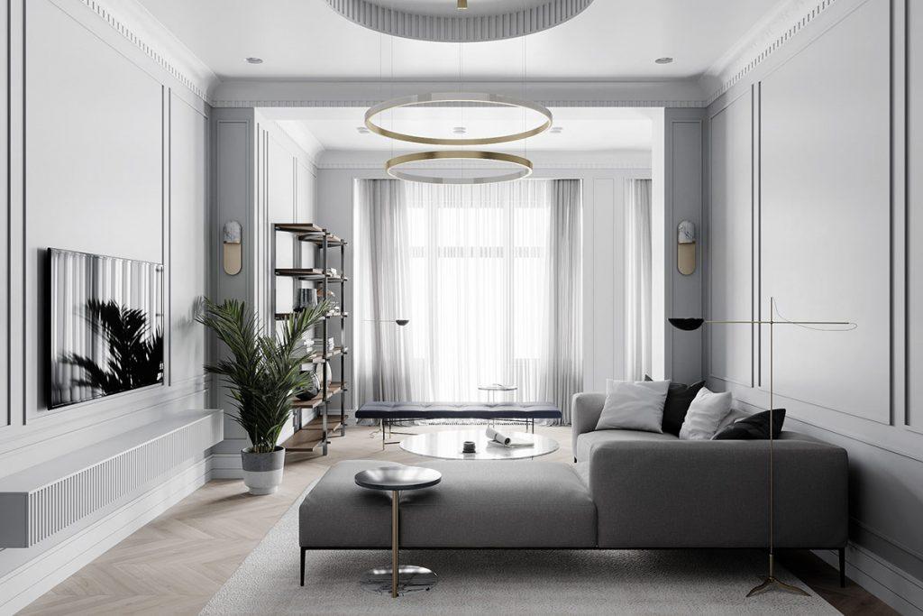 décoration d'intérieur néoclassique à base de gris