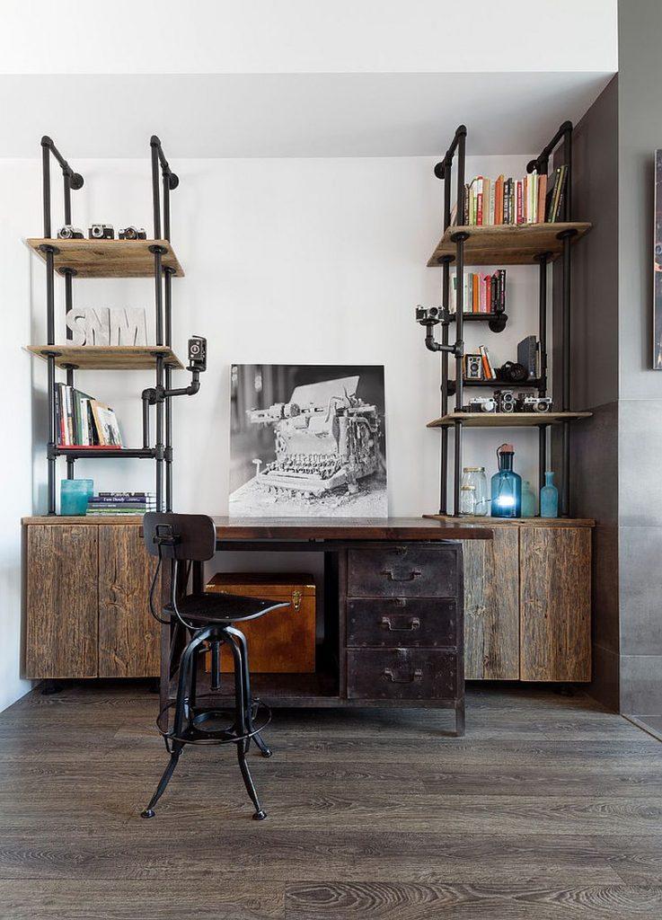 Décors de salons chicsétagères bois et métal