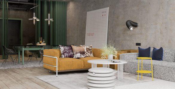 Une maison de style industriel avec une torsion colorée