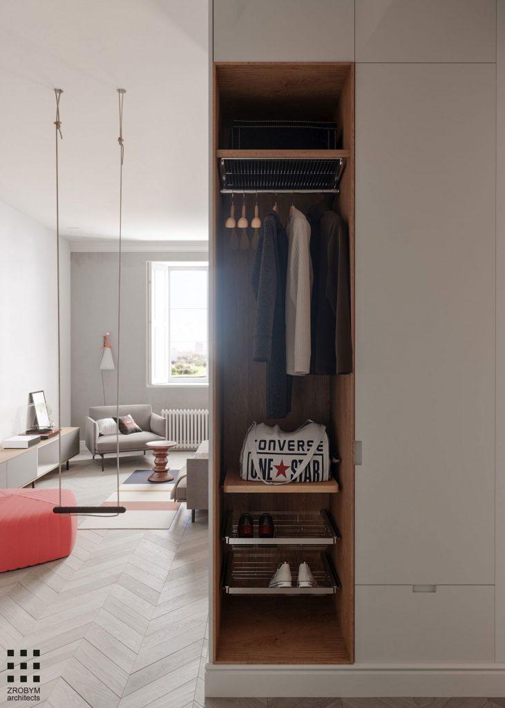 Une maison monochrome couloir et chambre1