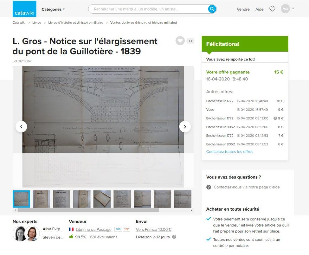 avis catawiki plan pont de la Guillotière1839