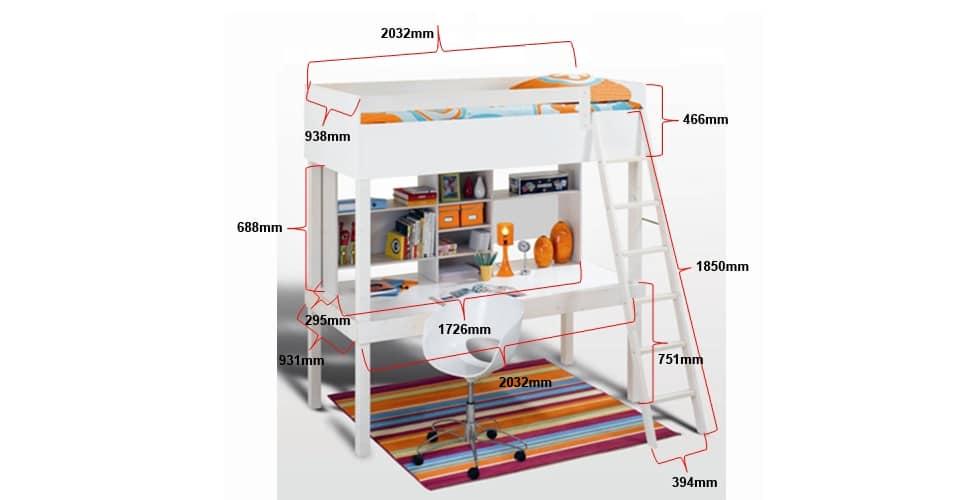 Mezza lit mezzanine bureau étagère