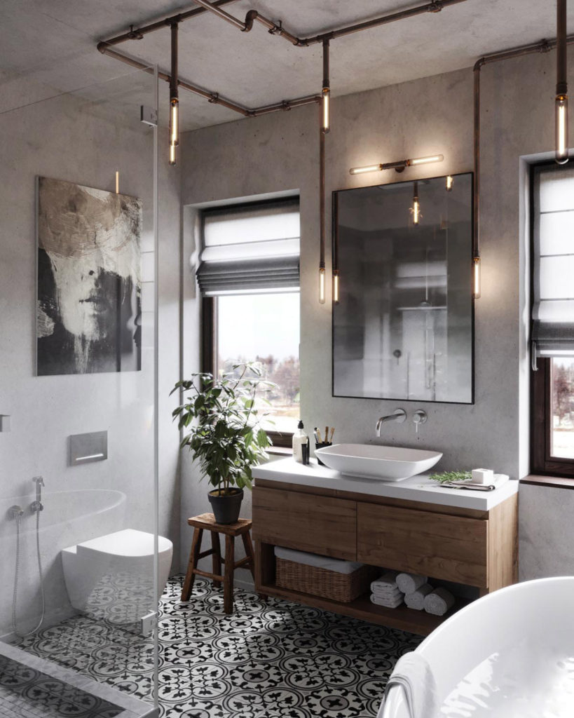 Luminaire Salle De Bain Style Industriel 51 salles de bains de style industriel pour trouver de l