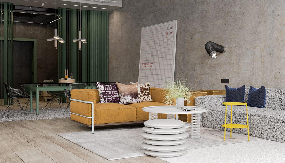 Table Basse Avec Parpaing une maison de style industriel avec une torsion colorée